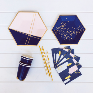 Navy Blue and Pink Party Supplies Pack