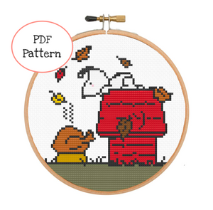 Snoopy's Thanksgiving Cross Stitch - PDF Instructions