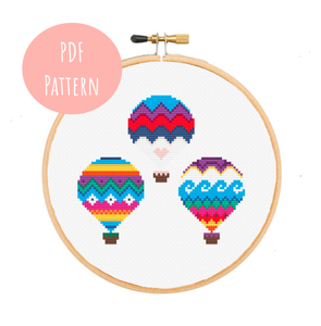 Hot Air Balloons Cross Stitch - PDF Instructions
