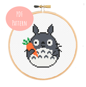 Totoro With Carrot Cross Stitch - PDF Instructions
