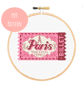 Paris Eiffel Tower Ticket Cross Stitch - PDF Instructions