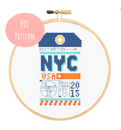 NYC Luggage Tag Cross Stitch - PDF Instructions