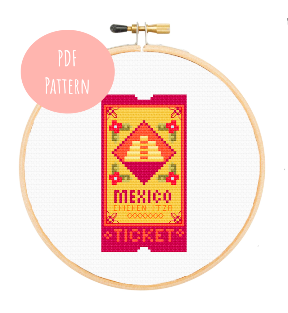 Chichen Itza Ticket Cross Stitch - PDF Instructions