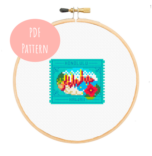 Honolulu Postage Stamp Cross Stitch - PDF Instructions
