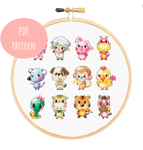 Zodiac Animal Cartoons Cross Stitch - PDF Instructions