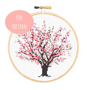 Cherry Blossom Cross Stitch - PDF Instructions