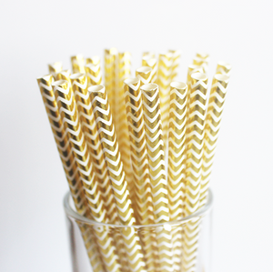Gold Chevron Paper Straws - 25 Pieces