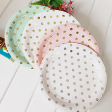 Round Polka Dot Paper Plates - Set of 8