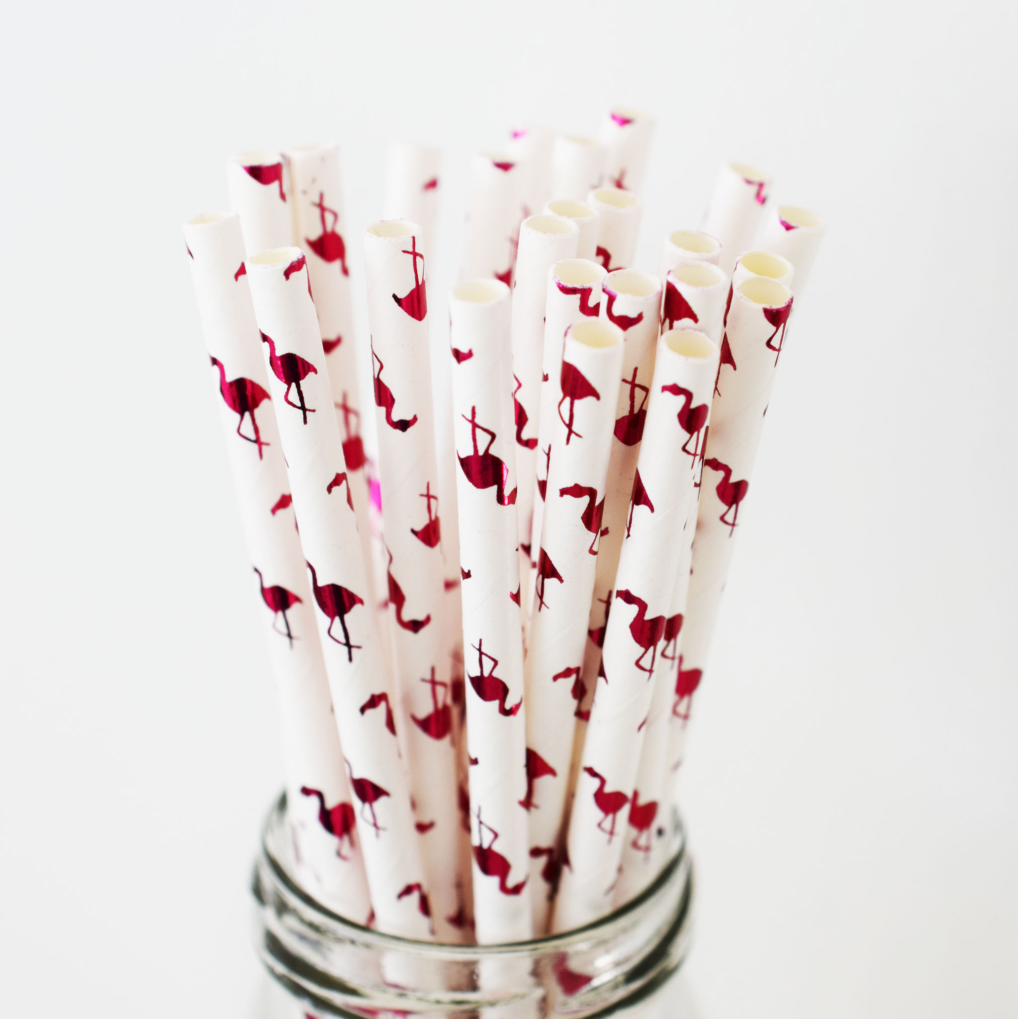 Pink Foil Flamingo Paper Straws - 25 Pieces