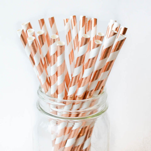 Rose Gold Striped Paper Straws - 25 Pieces