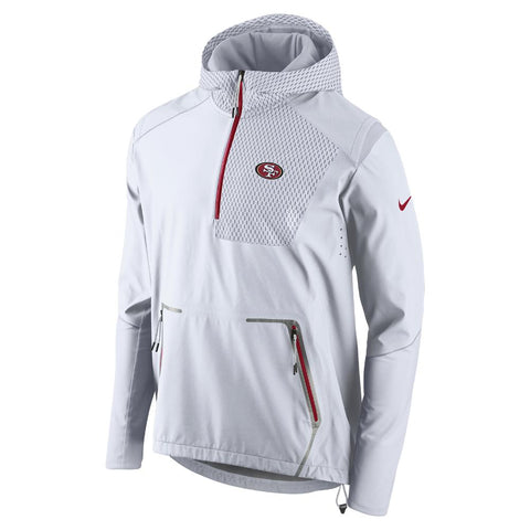 Nike NFL San Francisco 49ers Champ Drive Vapor Speed Fly Rush Flash Half-Zip Pullover Jacket White