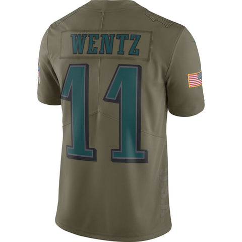 0aaeaf667fb1 Nike NFL Philadelphia Eagles  11 Carson Wentz Salute To Service Limited  Jersey Olive