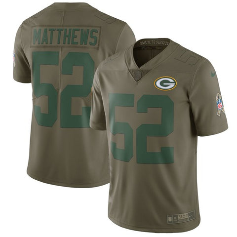 Nike NFL Green Bay Packers #52 Clay Matthews Salute To Service Limited Jersey Olive