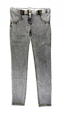 Women's Authentic Freddy WR.UP Grey Denim Yellow Stitching WRUP1RA1E Mid Waist