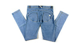 Women's Authentic Freddy WR.UP Light Blue Denim Yellow Stitching WRUP1LA1E Mid Waist