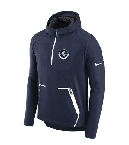 NIKE Carlton Blues FC 2018 AFL Alpha Fly Rush Half-Zip Jacket 899763-419 Navy