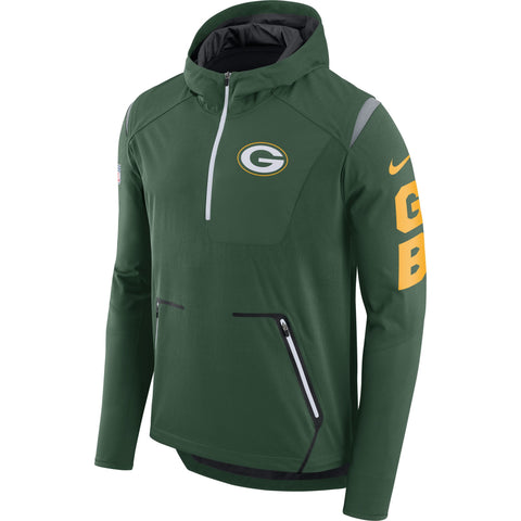 Nike NFL Green Bay Packers Alpha Fly Rush Performance Half-Zip Pullover Jacket Green