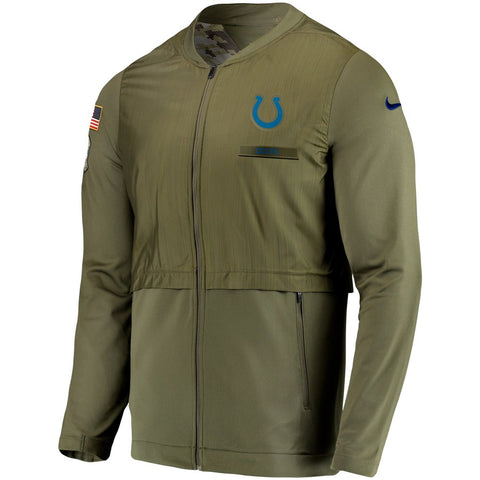 Nike NFL Indianapolis Colts Salute to Service Sideline Elite Hybrid Full-Zip Jacket Olive