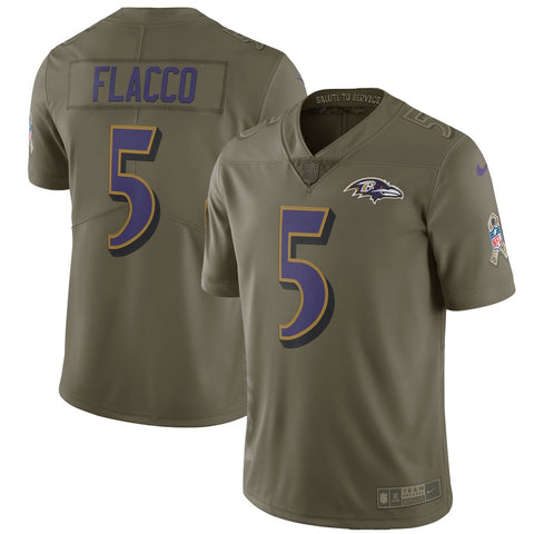 Nike NFL Baltimore Ravens #5 Joe Flacco Salute To Service Limited Jersey Olive