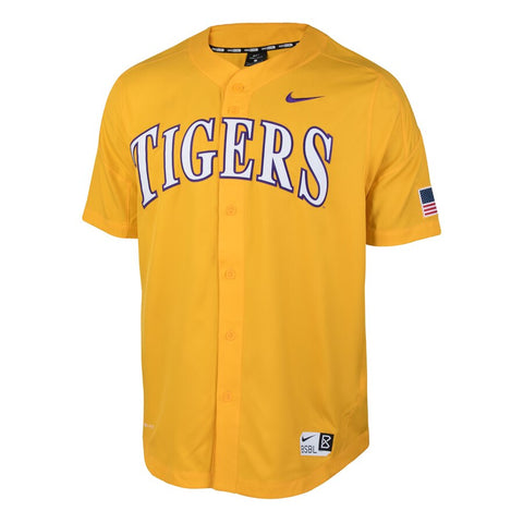 Nike Collage LSU Tigers Vapor Performance Baseball Jersey - Gold