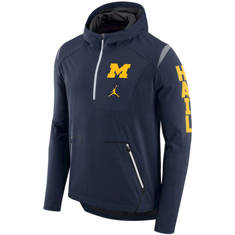 Nike NCAA Michigan Wolverines Alpha Fly Rush Performance Half-Zip Pullover Jacket Navy