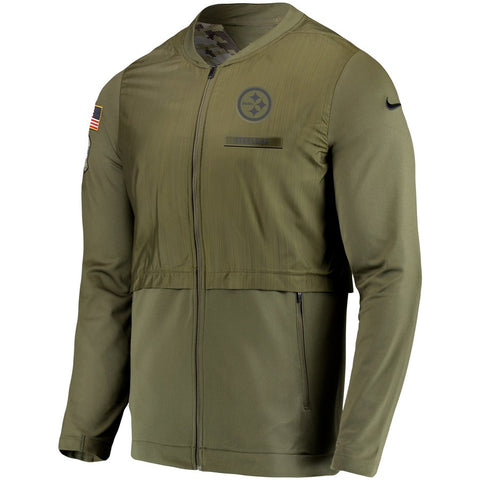 Nike NFL Pittsburgh Steelers Salute to Service Sideline Elite Hybrid Full-Zip Jacket Olive