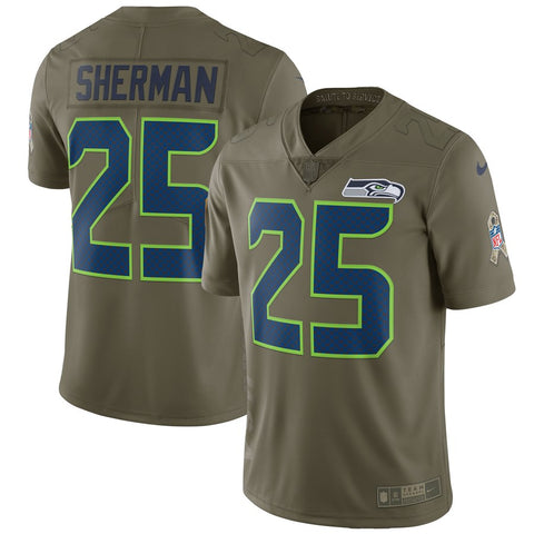 Nike NFL Seattle Seahawks #25 Richard Sherman Salute To Service Limited Jersey Olive