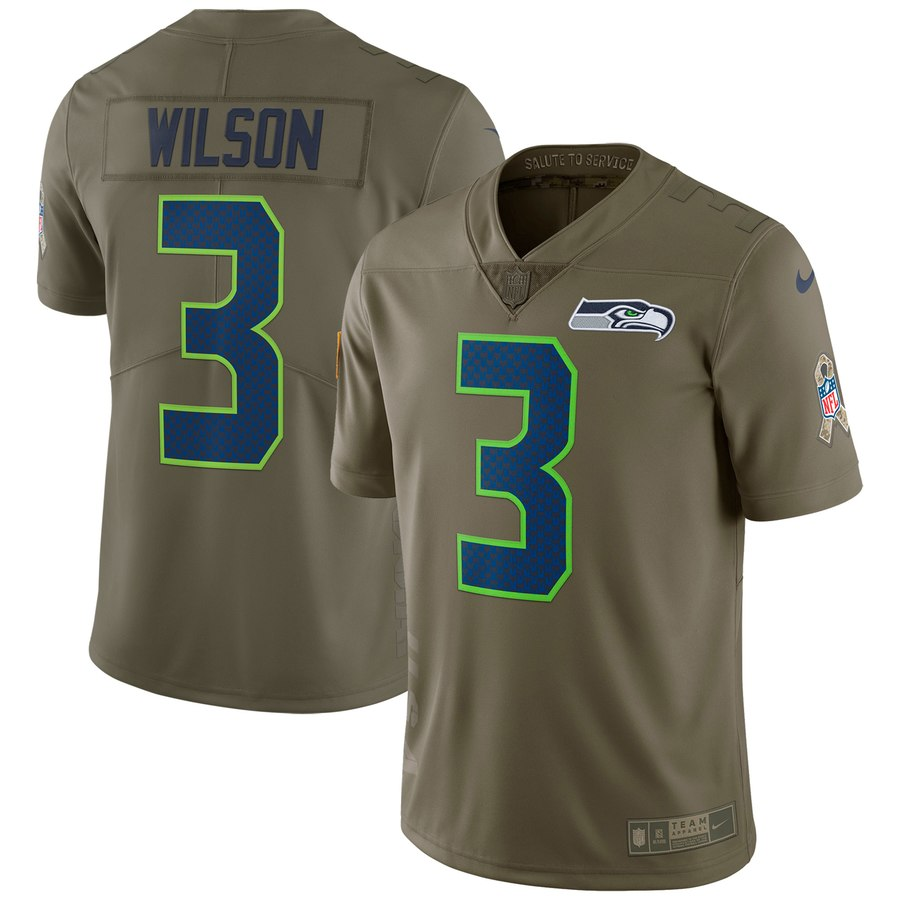 fec581bc Nike NFL Seattle Seahawks #3 Russell Wilson Salute To Service Limited  Jersey Olive