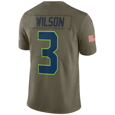 Men/'s Seahawks #3 Russell Wilson Stitched Limited Salute to Service Jersey