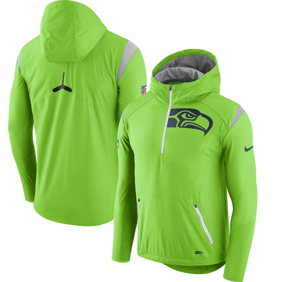 on sale 97940 8a1fd Nike NFL Seattle Seahawks Sideline Fly Rush Half-Zip Pullover Jacket Neon  Green