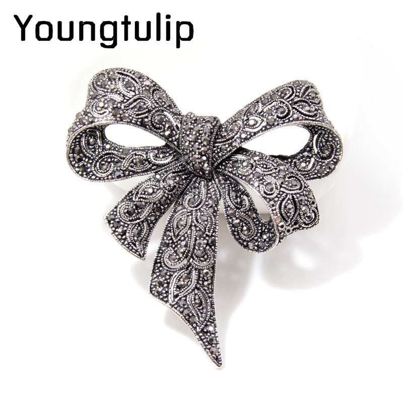 Superb Vintage Rhinestone Bow Brooches For Women, Bowknot Brooch Pin. Fashion