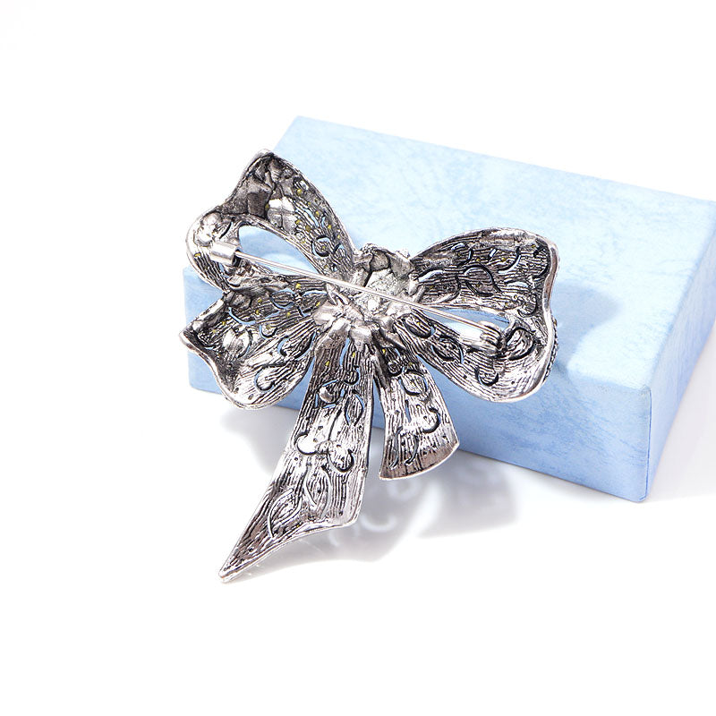 Vintage Rhinestone Bow Brooches For Women, Bowknot Brooch Pin. Fashion