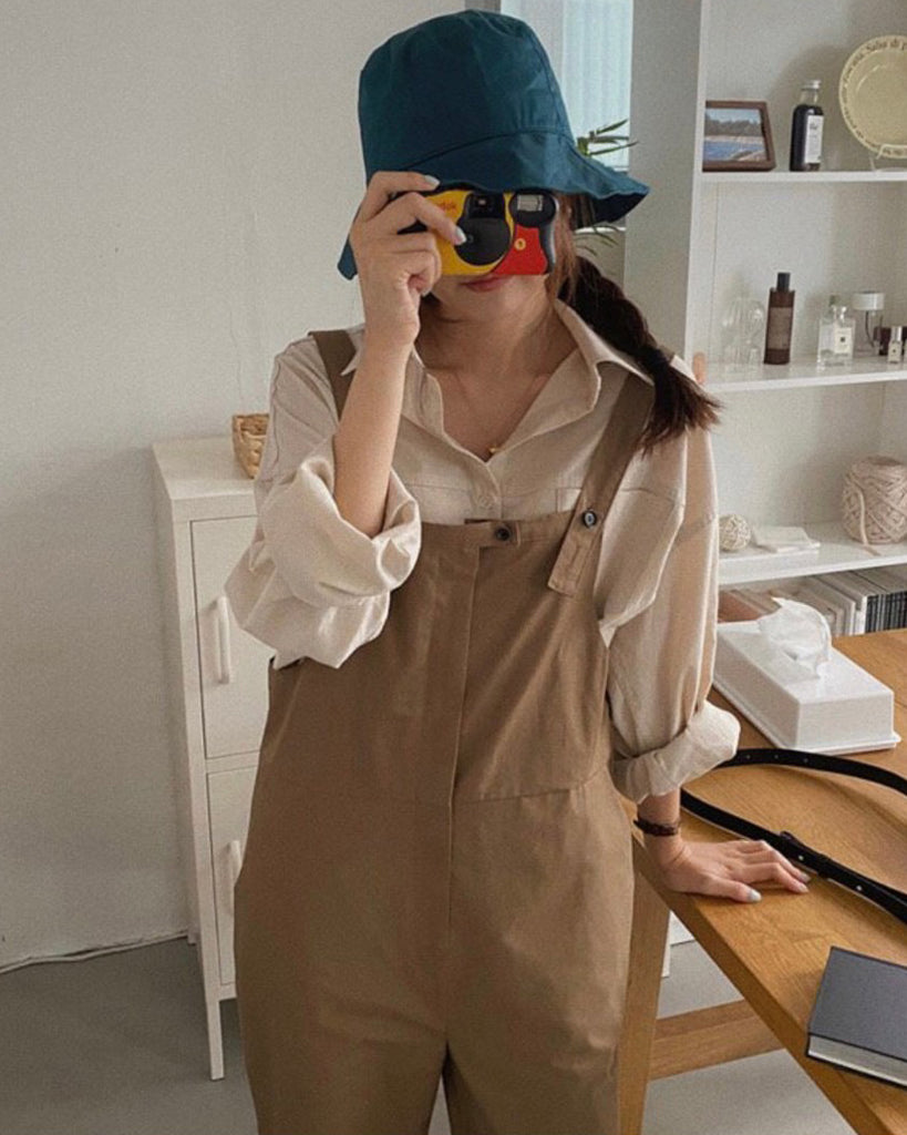 Mellie Button Pocket Jumpsuit (Brown)