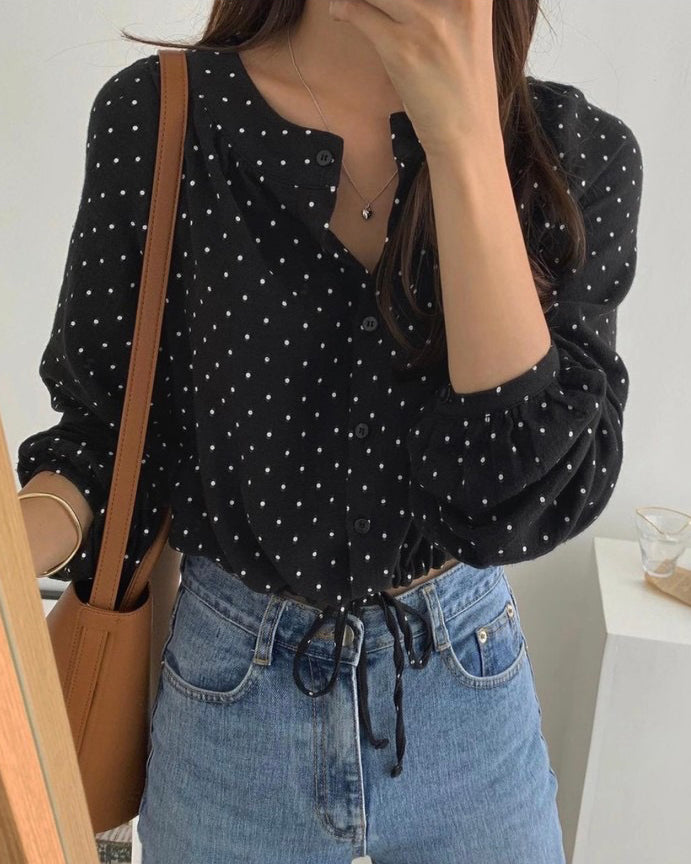 Edi Dotted Round Collar Drawstring Blouse (Black)