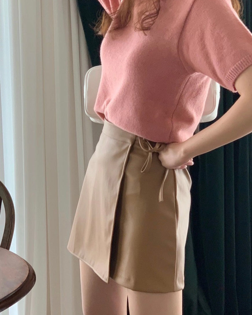 Lea Faux Leather Wrap Short Skirt (Camel)