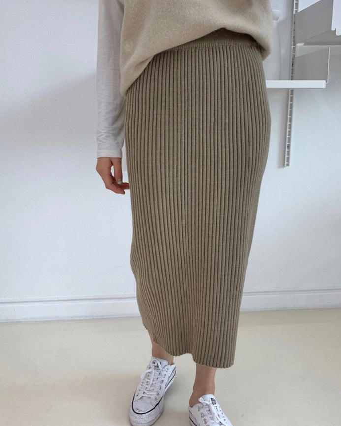 Brenda Banded Ribbed Knit Skirt