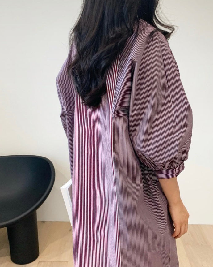 Sally Stripe Panel Shirt Ops (Maroon)