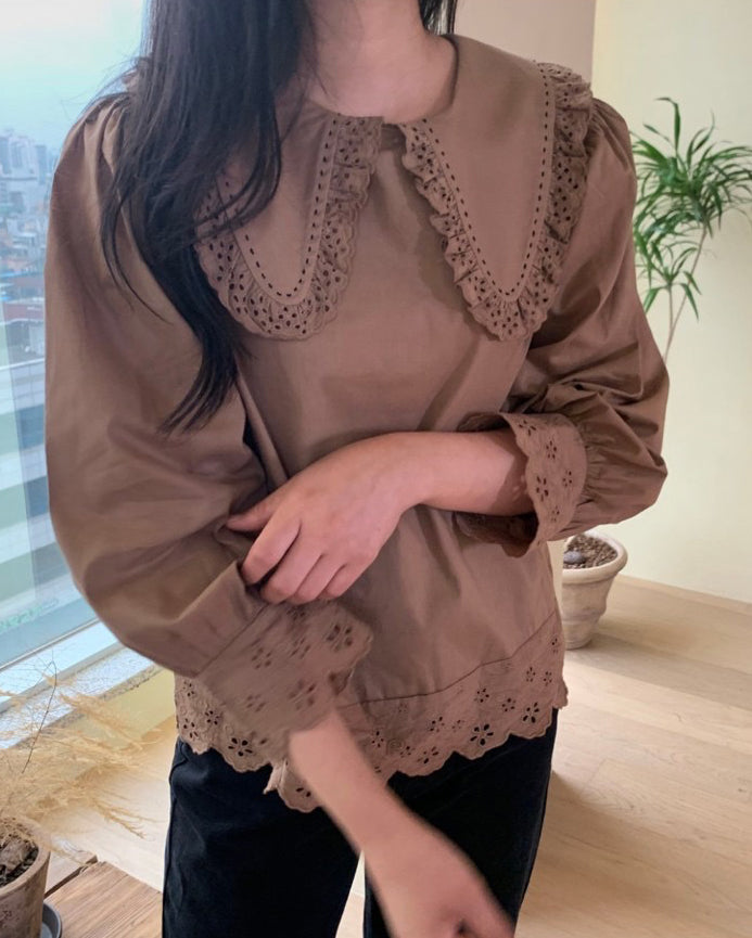 Philly Frill Eyelet Trim Blouse (Brown)