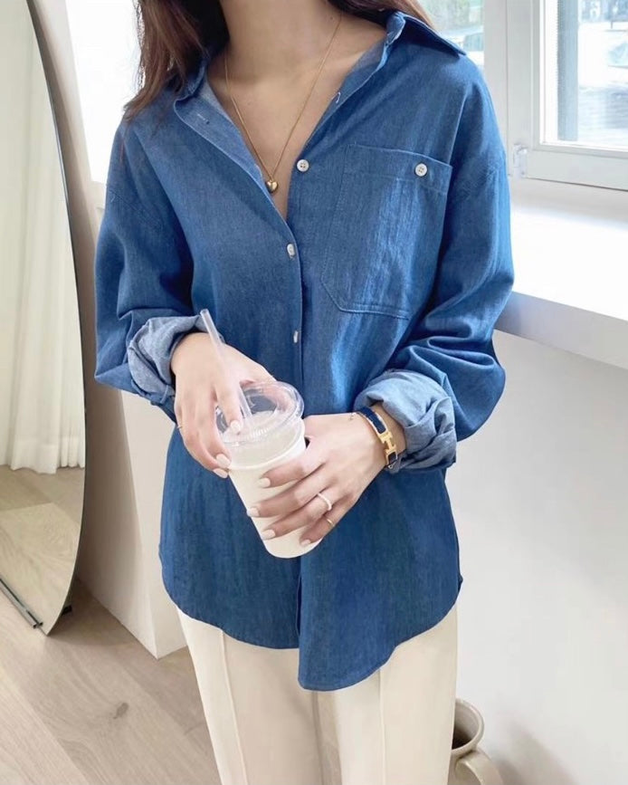 Lea Button Down Denim Shirt (Light Blue)