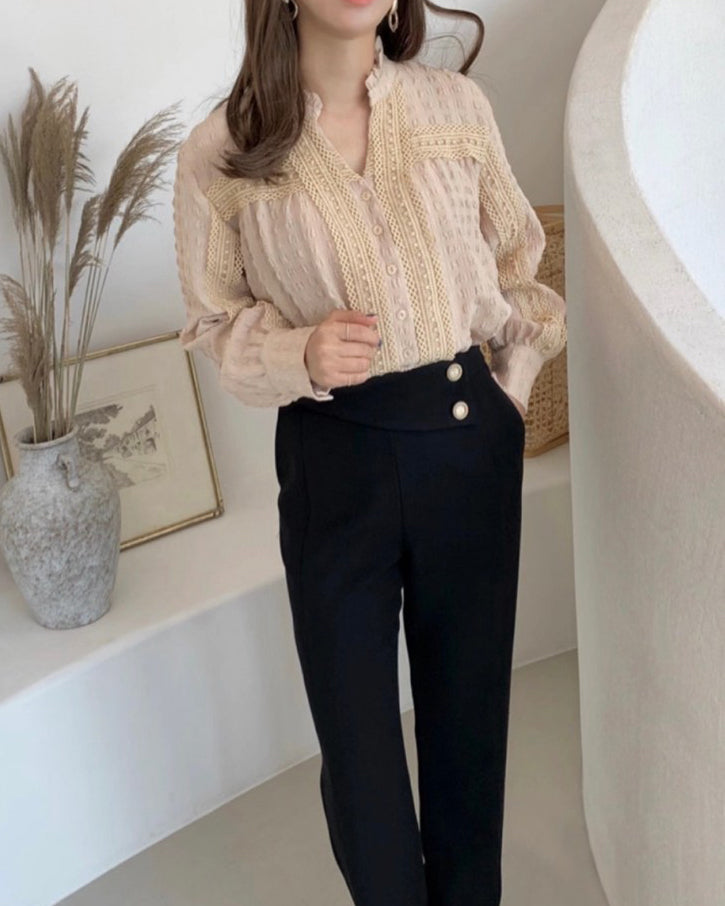 Celia Crochet Trim Square Textured Blouse (Beige)