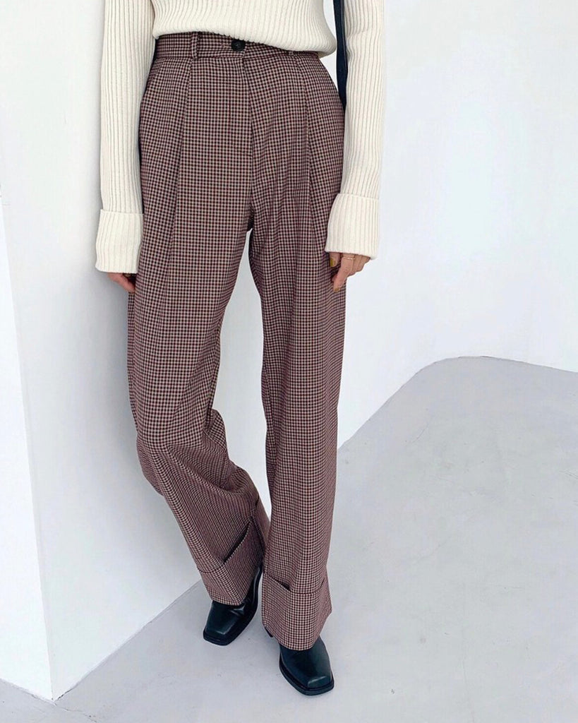 Brenda Gingham Highwaist Pants (Brown)