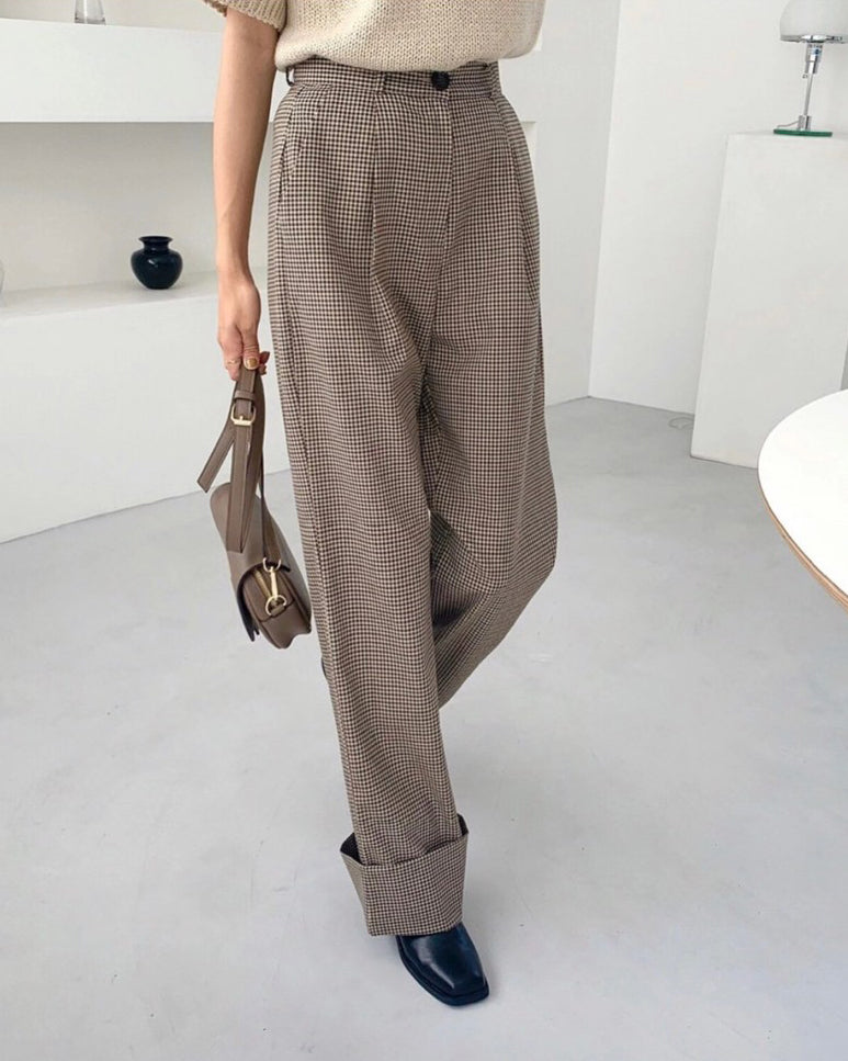 Brenda Gingham Highwaist Pants (Beige)