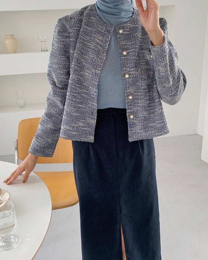 Miley Tweed Pearl Button Jacket (Blue)