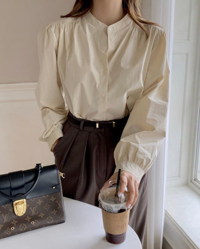 Hyden Round Collar Pintucked Shoulder Blouse