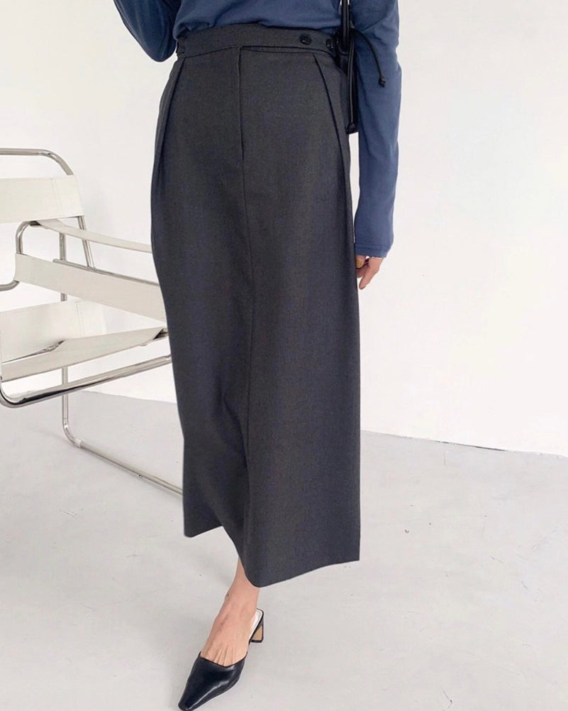 Philly Side Button Pleat Fold Skirt (Grey)