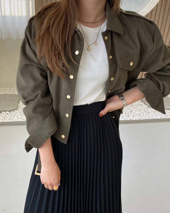 Beth Gold Button Belted  Crop Jacket (Khaki)