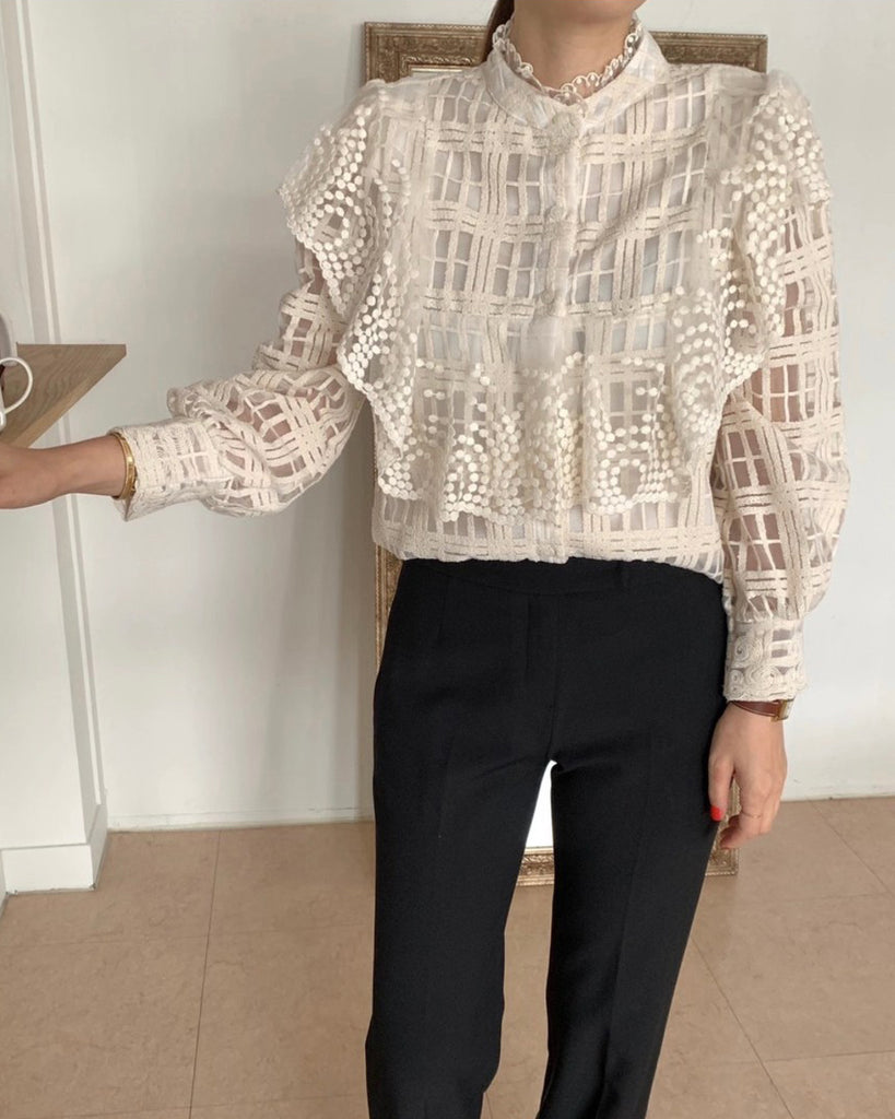 Julie Crochet Dotted Mesh Layer Blouse (Ivory)