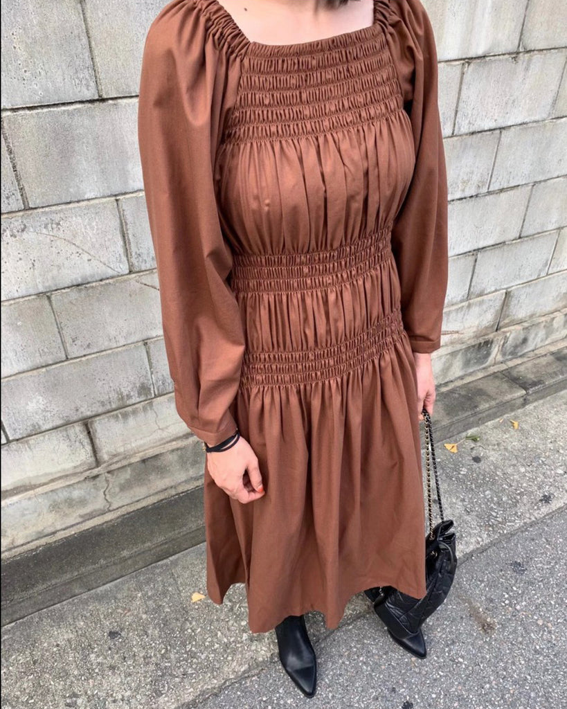Marion Smocked Tiered Midi Ops (Brown)