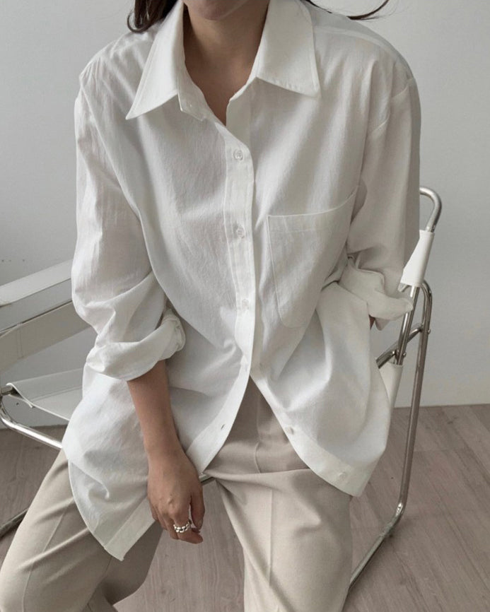 Nelly Pocket Button Down Boyfriend Shirt (White)