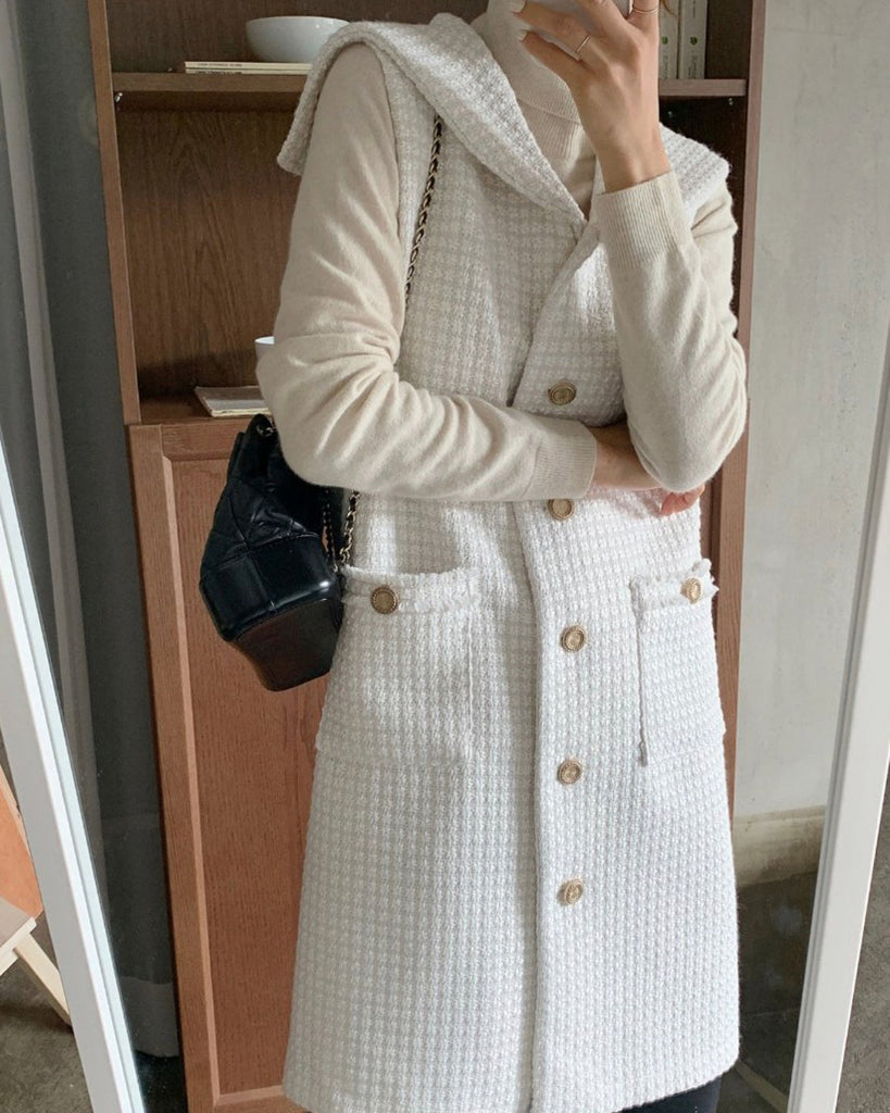 Amelia Gold Button Tweed Vest Midi Ops (Ivory)